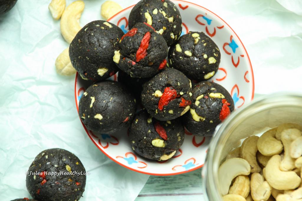 Glutenfreies, veganes Rezept für Protein Energie Schoko Kugeln mit Maca
