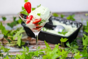 Recipe for vegan woodruff ice cream with fresh woodruff