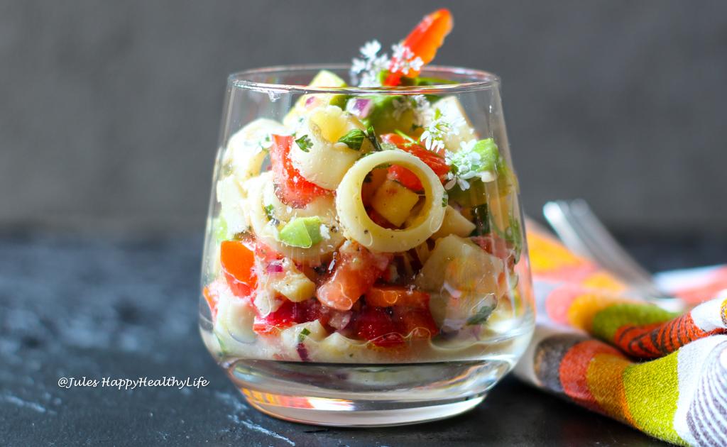 Veganes Rezept für Palmherzen Cevice mit Avocado, Tomaten und etwas Chilli