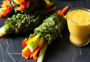 Vegan, gluten free, raw Swiss Chard Wraps with Saffron Mango Dip