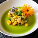 Glutenfreies, veganes Reuept für Mango Grüner Apfel Tatar mit Fenchel Sud