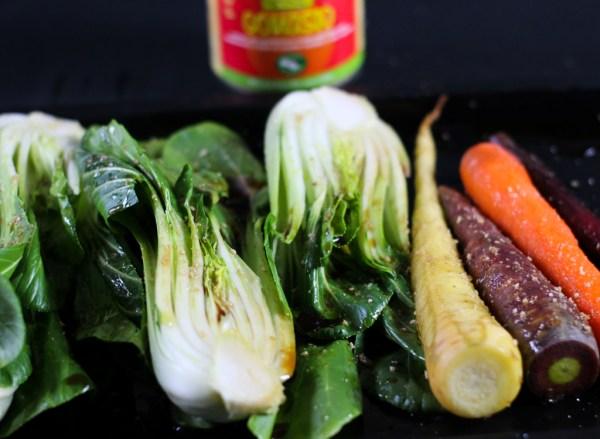 Ofen gerösteter Pak Choy und Karotten