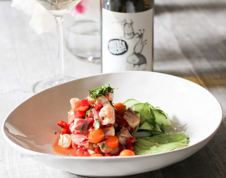 Gelber Muskateller als Weinbegleitung zum Ceviche von der Dorade und Physalis