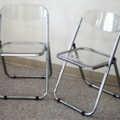 Acrylic Folding Chairs Oversized Reading Pair Of Italian Chrome And Lucite