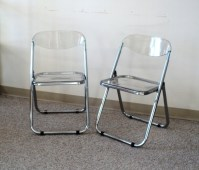 Pair of Italian Chrome & Lucite Folding Chairs