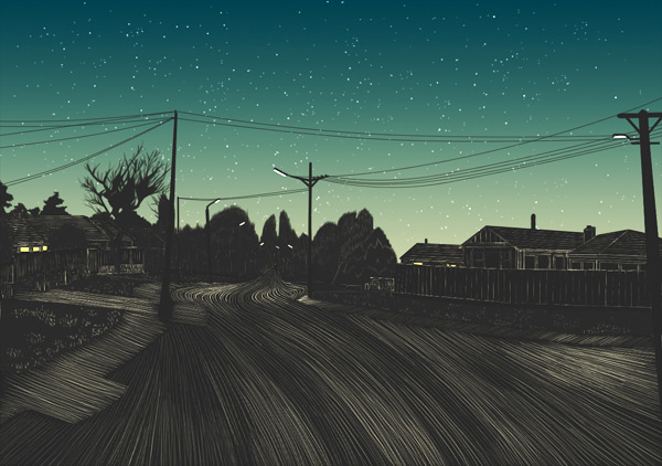 'A Winter Night in a Suburban Street'