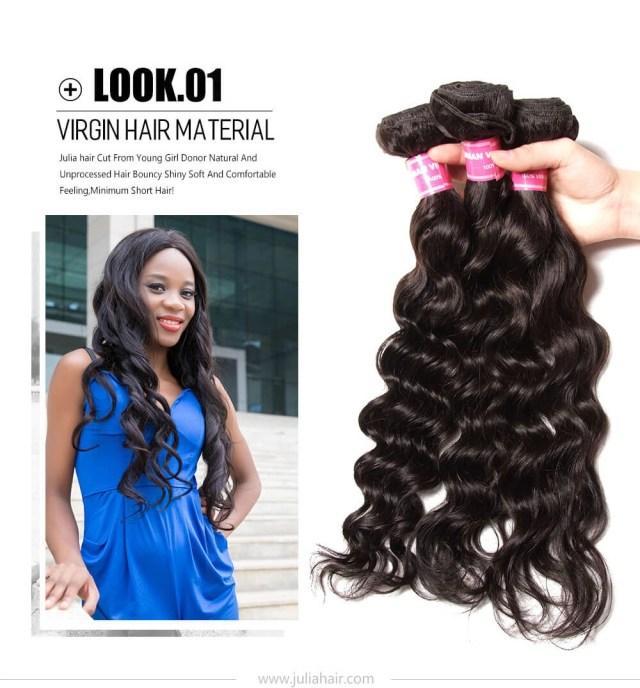 julia virgin human 4pcs/lot brazilian natural wave hair bundles best natural wavy brazilian hair weave