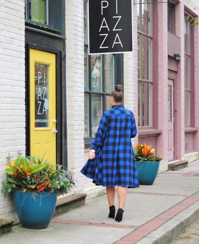 Black and Blue Buffalo Plaid Dress and black booties