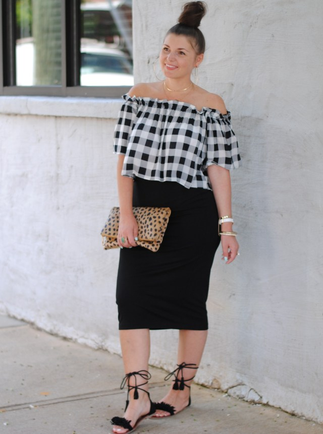Gingham OTS Top with Black Midi Skirt