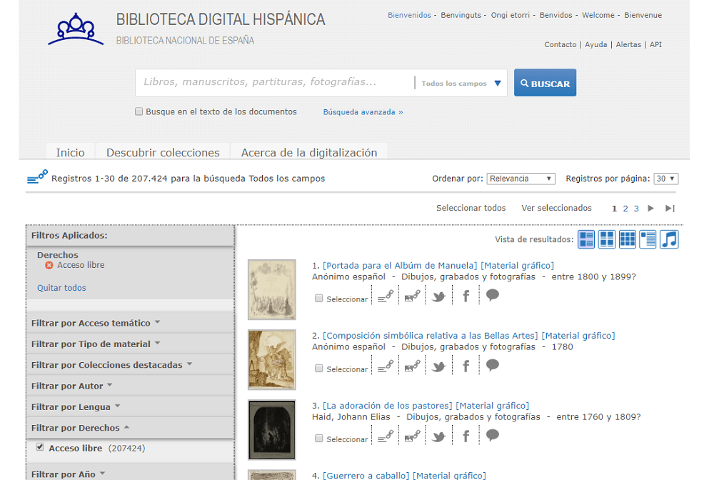 Acceso libre Biblioteca Digital Hispánica