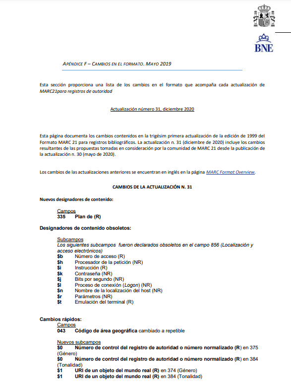 Apéndice F formato MARC21 para Registros de autoridad