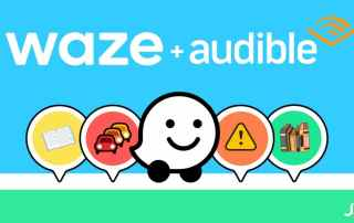 Audible y Waze audiolibros GPS