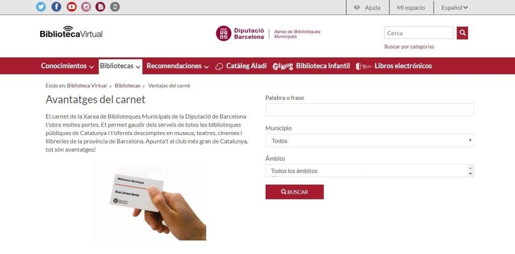 Avantatges del carnet de la Xarxa de Biblioteques Municipals de la Diputació de Barcelona