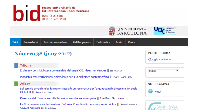 BiD textos universitaris de biblioteconomia i documentació