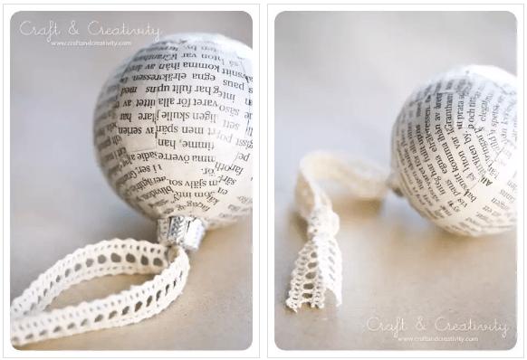 Bolas de Navidad forradas con papel de libro