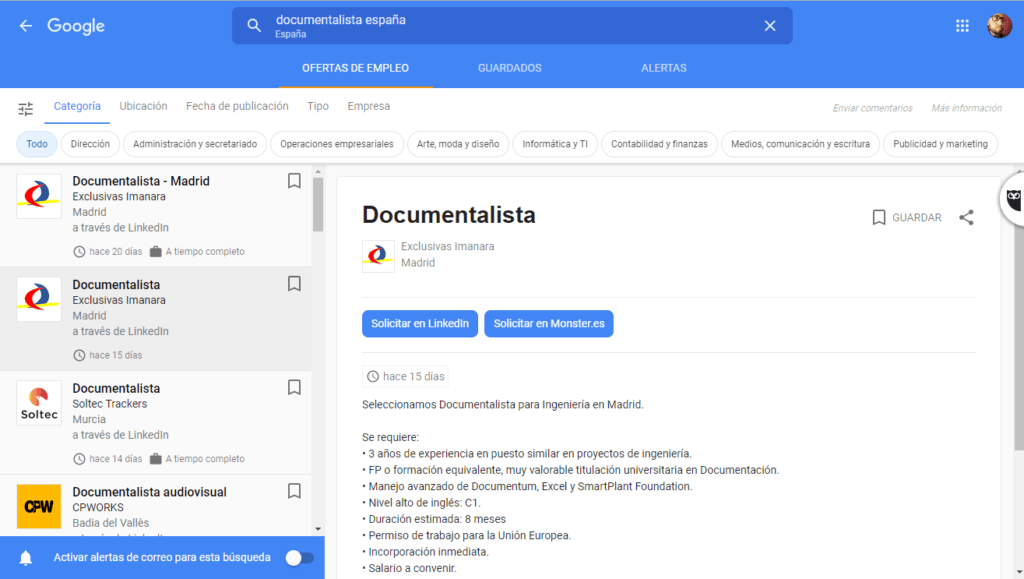 Buscador empleo Google documentalista