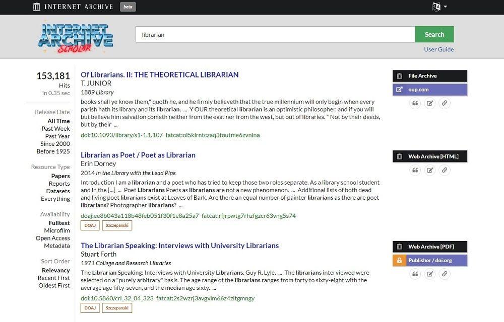 Búsqueda Librarian en Internet Archive Scholar