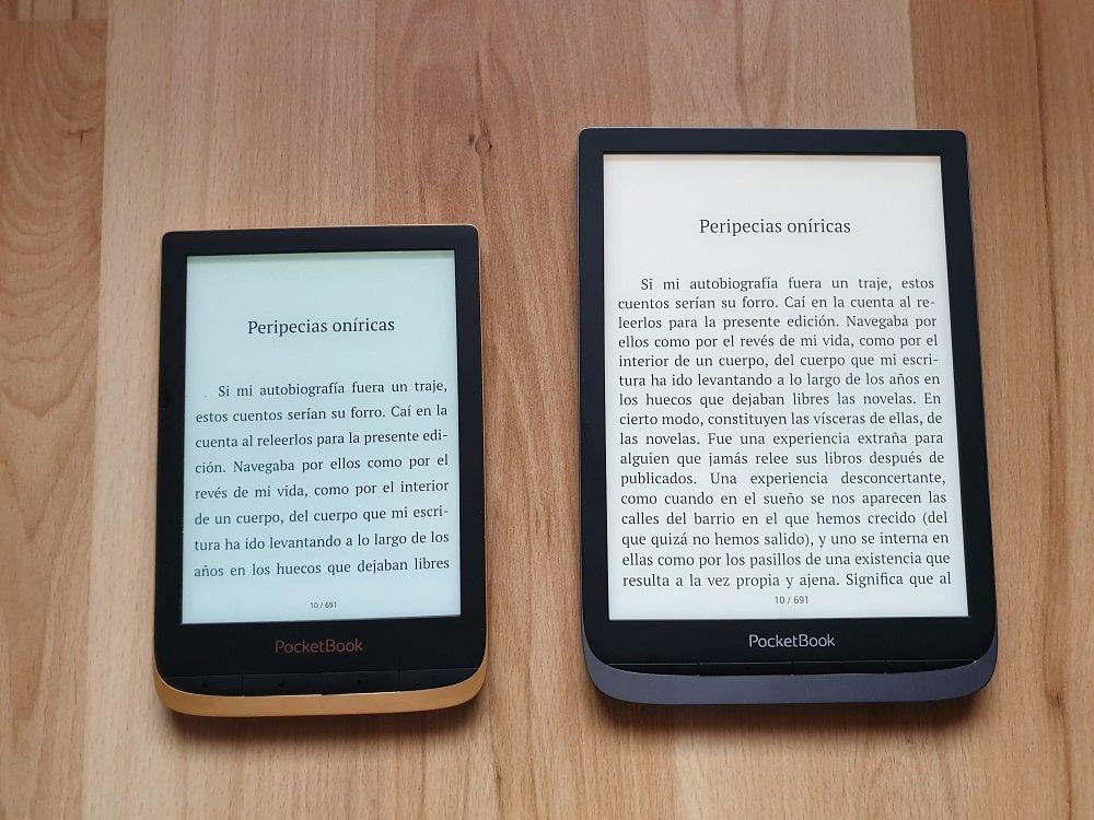 Comparación tamaño PocketBook Touch HD 3 vs PocketBook InkPad 3 Pro