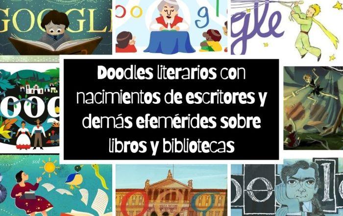 Doodles literarios con nacimientos de escritores y demás efemérides sobre libros y bibliotecas