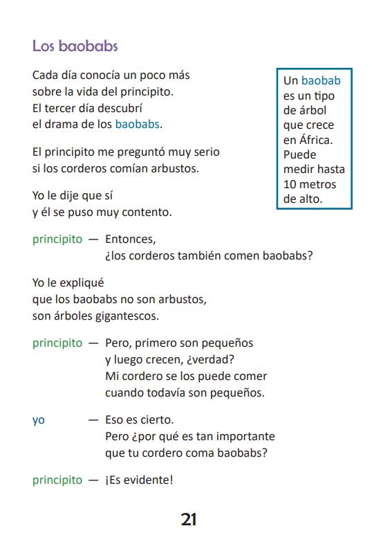 Ejemplo página El principito Lectura fácil