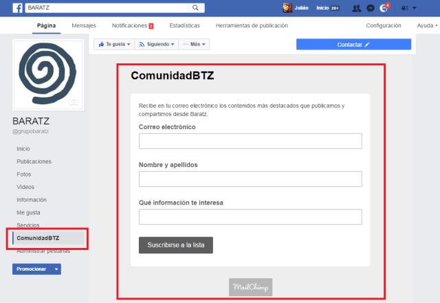 Formulario de MailChimp en Facebook de Baratz