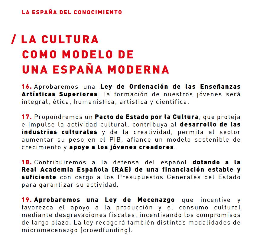La cultura como modelo de una España moderna. PSOE. Cultura - Programa electoral 2019