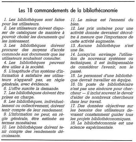 Les 18 commandements de la bibliotheconomie