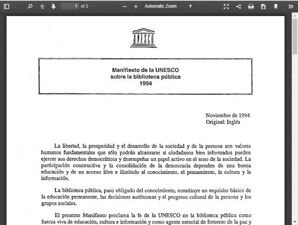 Manifiesto UNESCO biblioteca pública 1994
