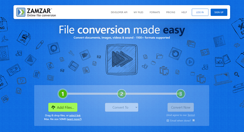 Online file conversion Zamzar