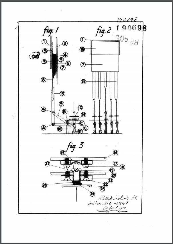Patente de invención 190.689: «Procedimiento mecánico, eléctrico y a presión de aire para lectura de libros»