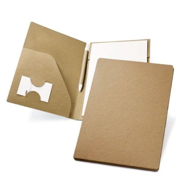 Portafolios ecológico de cartón con bolígrafo
