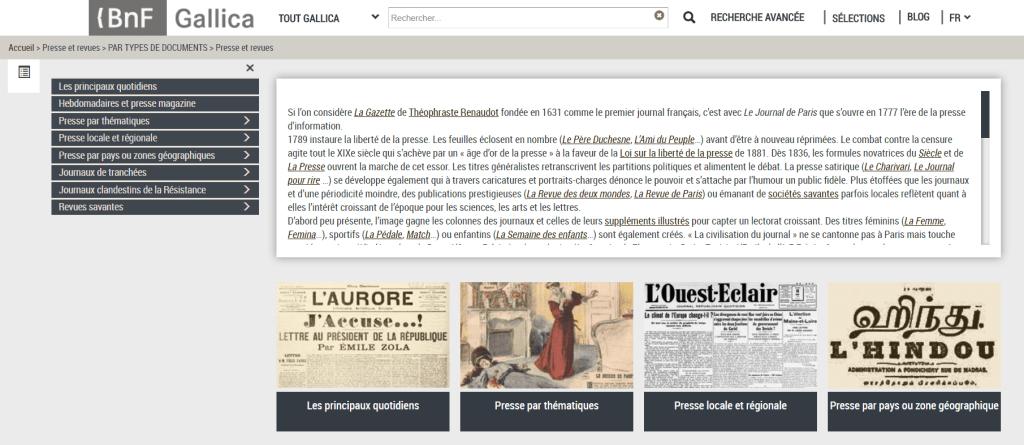 Prensa y revistas de la Biblioteca Nacional de Francia