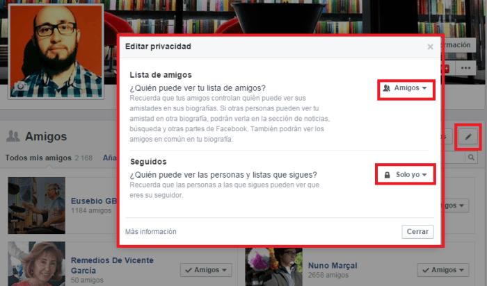 Privacidad lista de amigos en Facebook