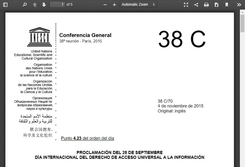 Proclamación del 28 de septiembre Día Internacional del Derecho de Acceso Universal a la información