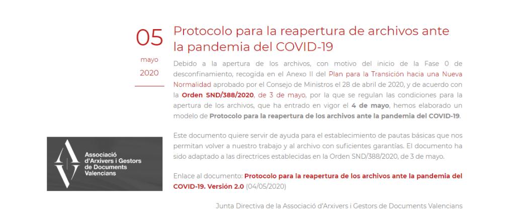 Protocolo reapertura archivos AAV