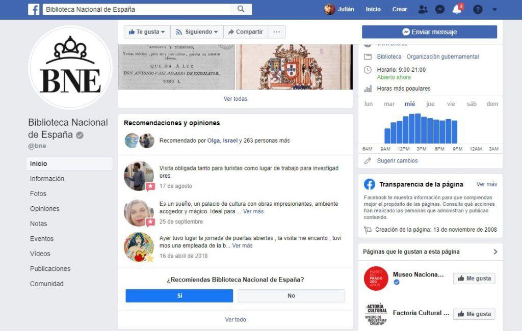 Recomendaciones y opiniones de personas realizadas sobre la página de Facebook de la Biblioteca Nacional de España