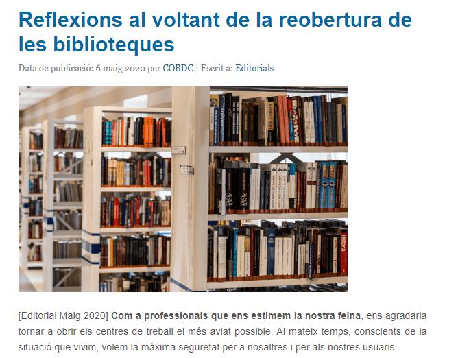 Reflexiones reapertura bibliotecas COBDC