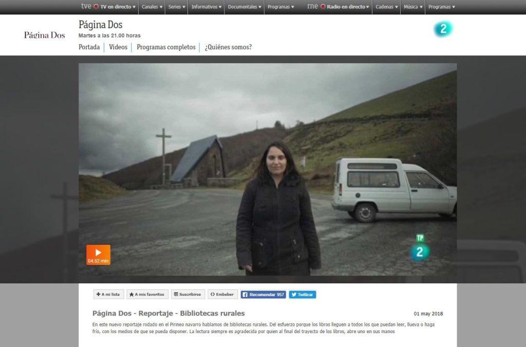 Reportaje en programa de televisión Página Dos