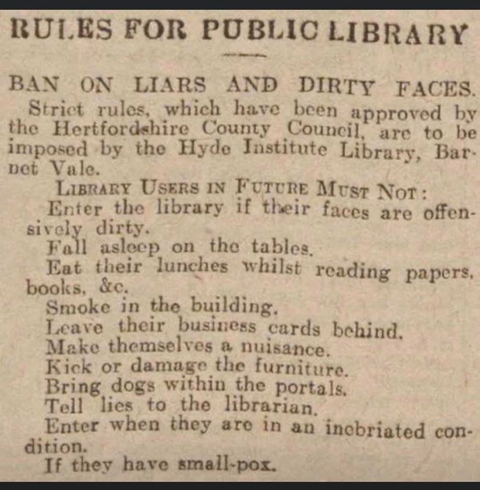 Rules for public library 1930