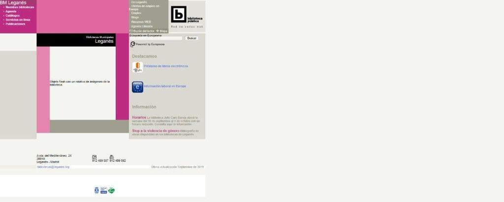 Visualización en pantalla de la sede web de las Bibliotecas Municipales de Leganés