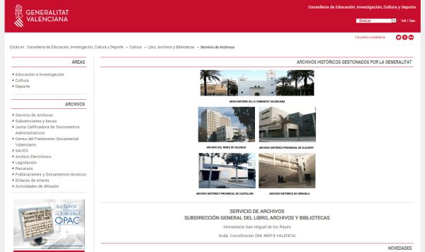 Servicio de Archivos – Generalitat Valenciana