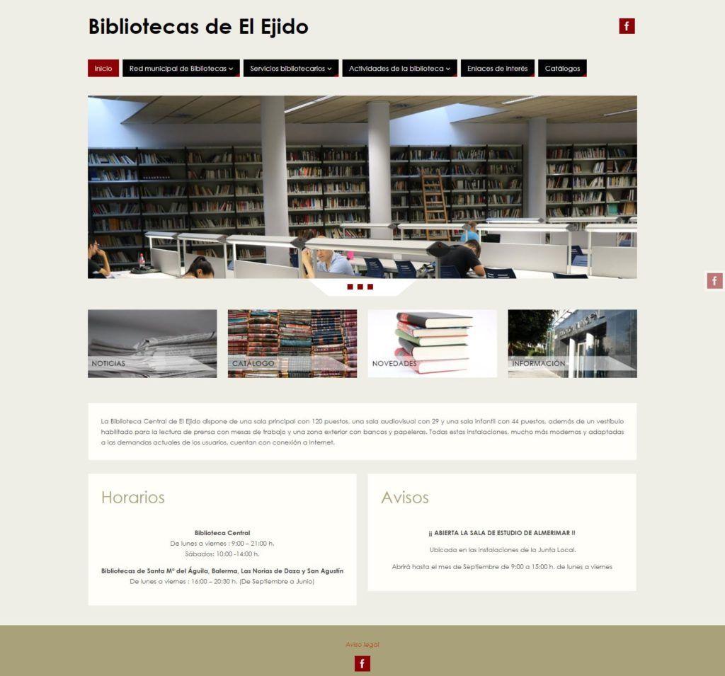 Visualización en pantalla del sitio web Bibliotecas de El Ejido