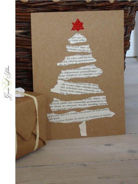 Tarjetas de Navidad con trozos de papel de un libro