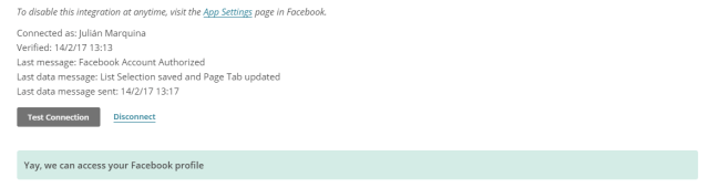 Test de conexión de Facebook en MailChimp