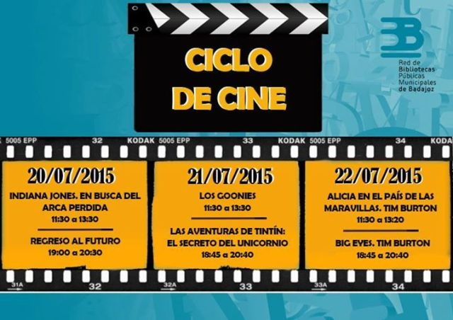 Programación del Ciclo de Cine, para los días 20, 21 y 22 de julio. — en Biblioteca P.M. Santa Ana - Badajoz.