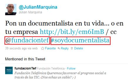 #SoyDocumentalista Ejemplo Twitter