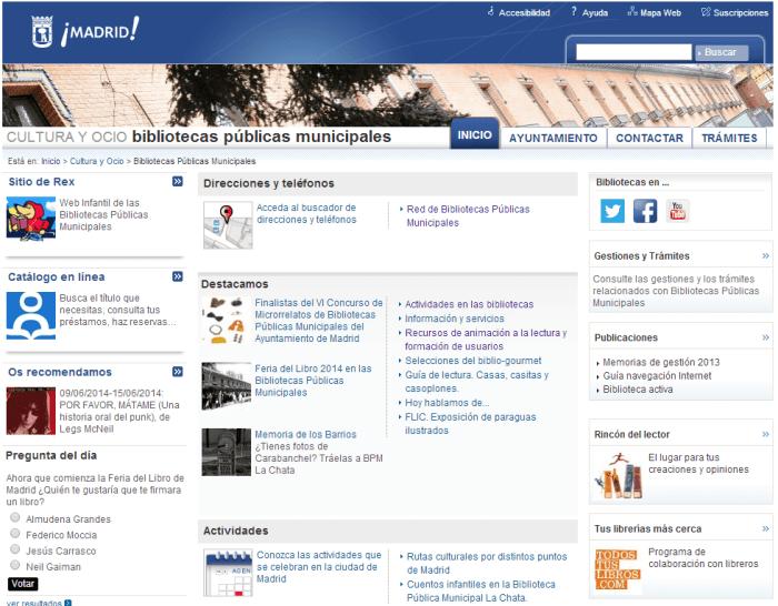Web Bibliotecas Públicas del Ayuntamiento de Madrid