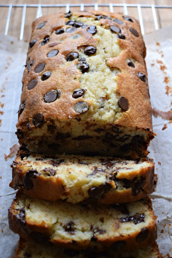 Close up of the Chocolate Chip Loaf Cake