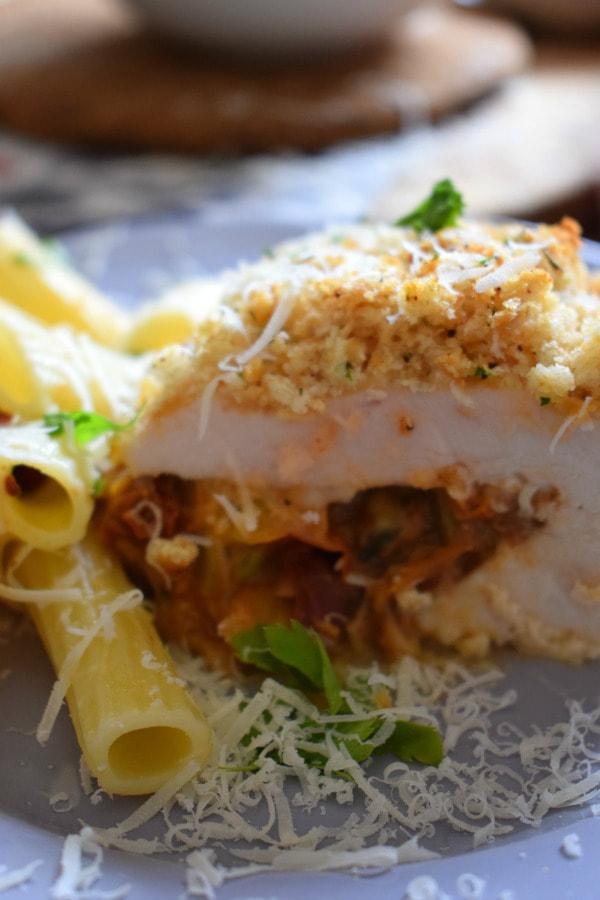 Close up of the Mozzarella and Tomato Stuffed Chicken