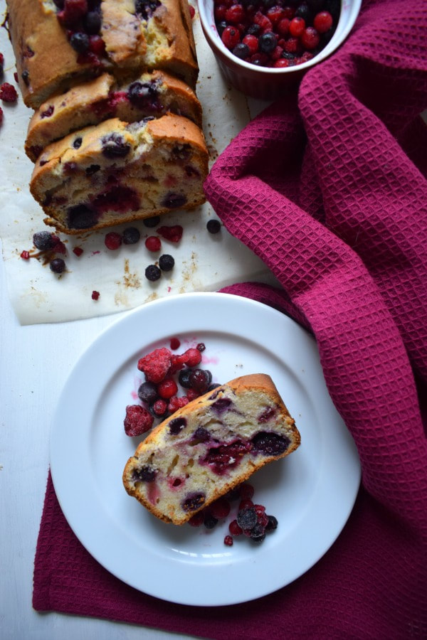 Slice of the Very Berry Loaf Cake on a plate
